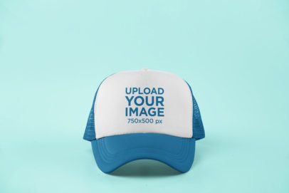 Mockup of a Single Trucker Hat with a Customizable Background 11705