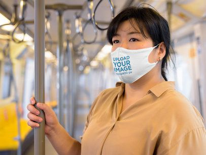Face Mask Mockup Featuring a Woman on a Train 40529-r-el2