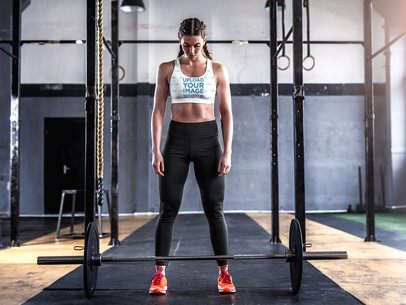 Sports Bra Mockup of a Woman About to Lift a Barbell 36184-r-el2