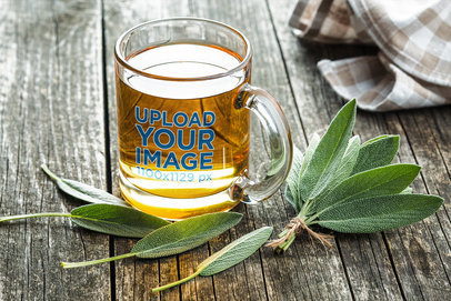 Mockup Featuring an 11 oz Clear Glass Mug Placed on a Rustic Wooden Table 36471-r-el2
