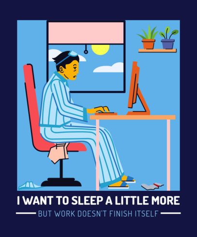 Illustrated T-Shirt Design Maker Featuring a Tired Man Working From Home 2798k