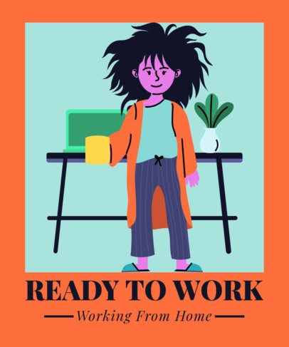 Illustrated T-Shirt Design Creator of a woman Working from Home 2798d