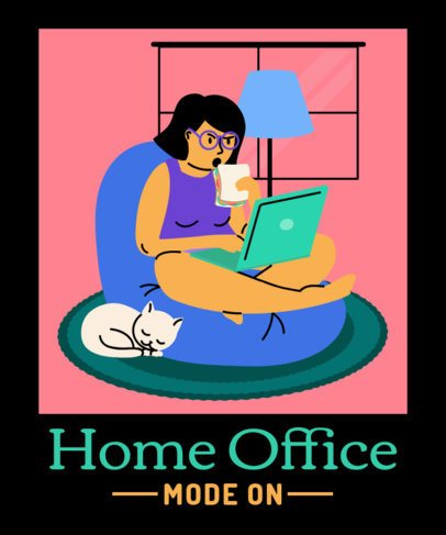 Illustrated T-Shirt Design Generator Featuring a Serious Woman During Home Office 2798i