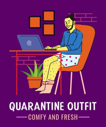 Illustrated T-Shirt Design Maker Featuring a man in a Quarantine Outfit 2798b