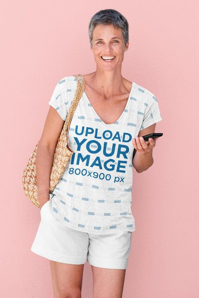 Mockup Featuring a Middle-Aged Woman with a Sublimated V-Neck Tee 38608-r-el2