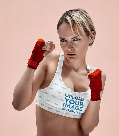 Mockup of a Female Boxer Posing with a Sports Bra at a Studio 37692-r-el2