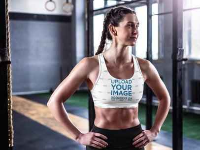 Sports Bra Mockup Featuring a Woman at a Calisthenics Gym 36179-r-el2