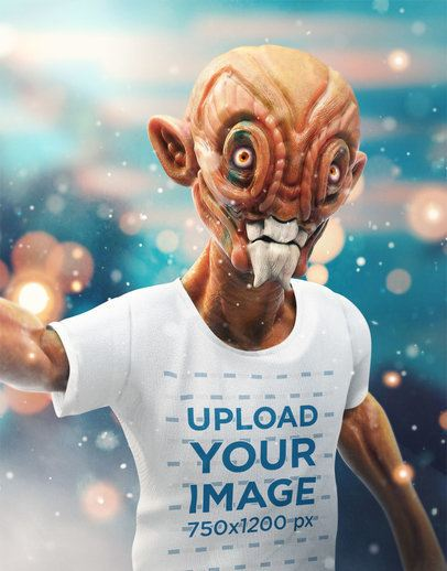 Illustrated Mockup of an Orange Alien Taking a Selfie with a T-Shirt 41147