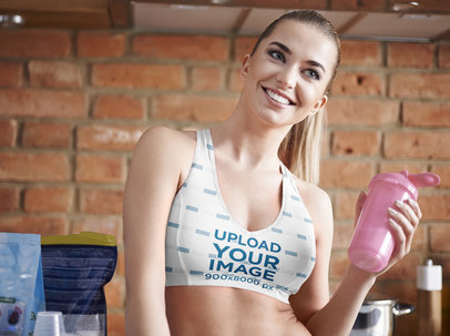 Sports Bra Mockup of a Smiling Woman Holding a Drink 35692-r-el2