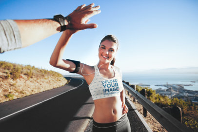 Sports Bra Mockup of a Woman Giving a High Five to a Friend 34789-r-el2