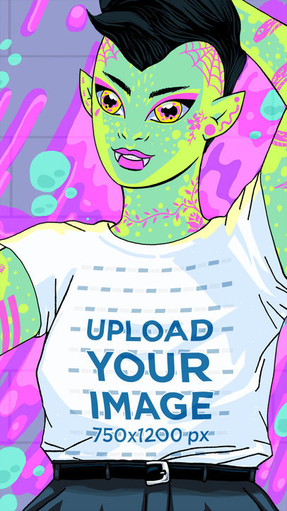 Illustrated Mockup of an Androgynous Alien Taking a Selfie with a T-Shirt 41145