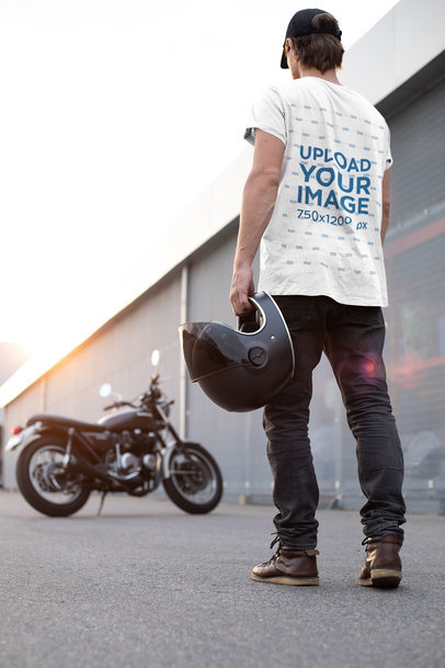 Back T-Shirt Mockup of a Man About to Ride His Bike 35207-r-el2