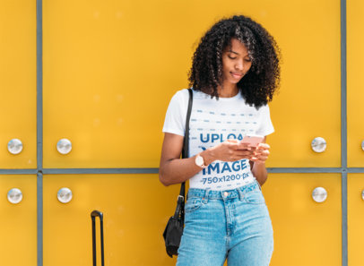 T-Shirt Mockup Featuring a Young Woman and a Colorful Background 40118-r-el2