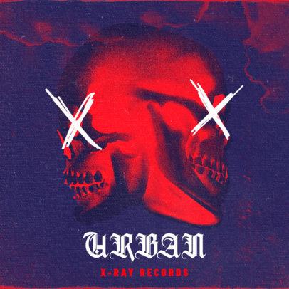 Dark Album Cover Maker for Trap Metal Music Featuring Skull Illustrations 2817d