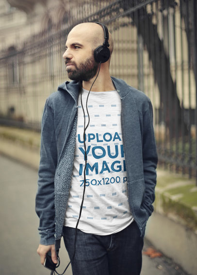 Heather T-Shirt Mockup Featuring a Bearded Man Listening to Music 37533-r-el2