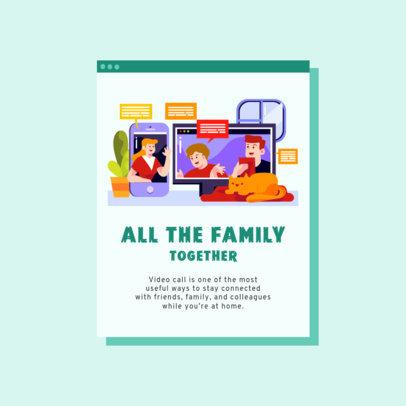 Instagram Post Maker with a Family Video Chat Illustration 2587e-el1