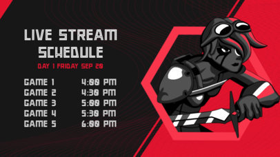 Twitch Banner Template for a Streaming Schedule Featuring a Warrior Character 2811a