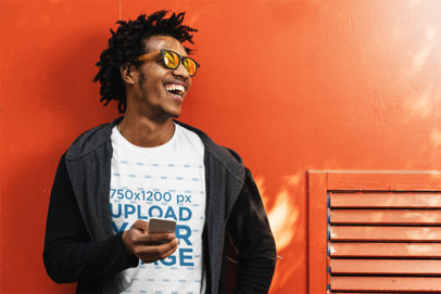 T-Shirt Mockup Featuring a Smiling Man Leaning Against a Wall 40162-r-el2