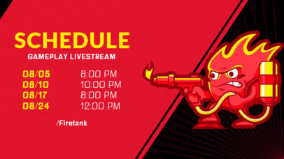 Gaming Twitch Banner Maker for a Streaming Schedule with a Flamethrower Clipart 2811b
