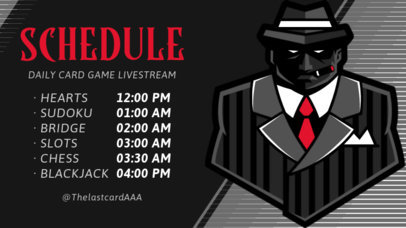 Twitch Banner Template Featuring a Mafia Character Graphic for a Gaming Tournament 2811j