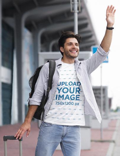 T-Shirt Mockup of a Man Calling a Cab 40161-r-el2