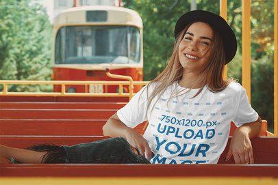 T-Shirt Mockup of a Happy Woman on a Tramway 39690-r-el2