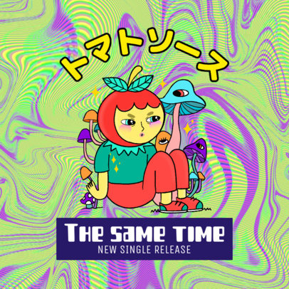 Album Cover Generator for an Acid Music Featuring a Cartoonish Character Illustration 2815c