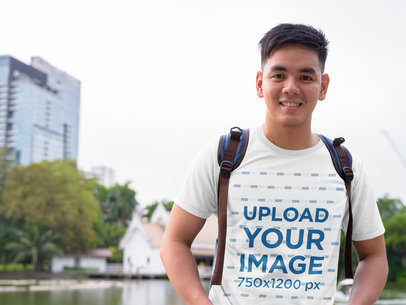 T-Shirt Mockup Featuring a Man with Short Hair 40514-r-el2