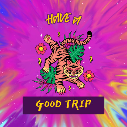 Album Cover Generator Featuring a Tiger Illustration Featuring a Colorful Acid-Style Background 2815f