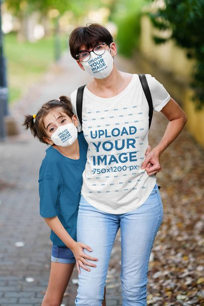 T-Shirt Mockup Featuring a Woman and Her Daughter Wearing Face Masks 40634-r-el2