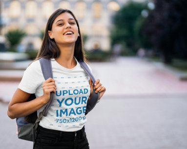 T-Shirt Mockup Featuring a Young Woman on Campus 40720-r-el2