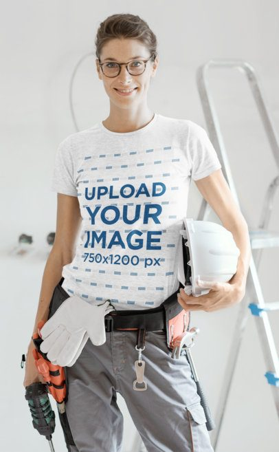 T-Shirt Mockup Featuring a Woman Working on a Construction Site 35223-r-el2