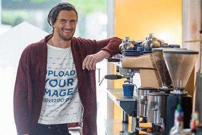 T-shirt Mockup of a Man Posing at a Coffee Shop 40616-r-el2