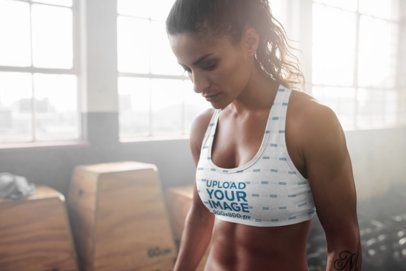 Mockup of a Serious Woman Wearing a Sublimated Sports Bra 35792-r-el2