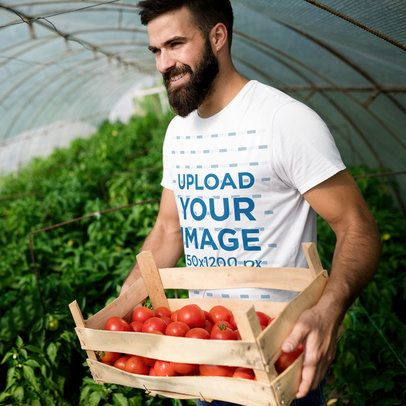 T-Shirt Mockup of a Bearded Man Harvesting Tomatoes 40626-r-el2