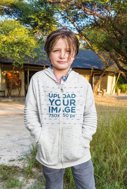 Mockup of a Boy Wearing a Full Zip Hoodie 41354-r-el2