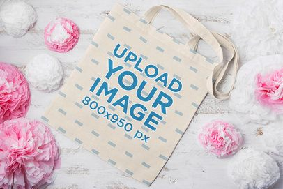 Tote Bag Mockup Featuring Some Pink Ornaments 41536-r-el2