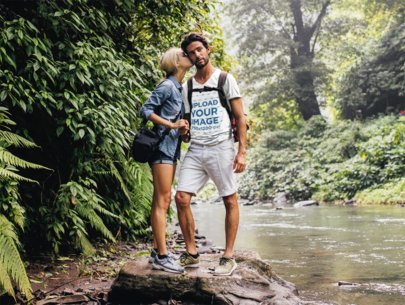 V-Neck T-Shirt Mockup Featuring a Couple Hiking by a River 42044-r-el2