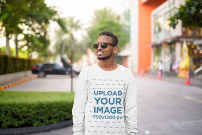 Long Sleeve Tee Mockup of a Young Man at a Mall 40442-r-el2