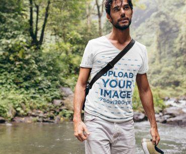 V-Neck T-Shirt Mockup Featuring a Man on a Hike 42045-r-el2