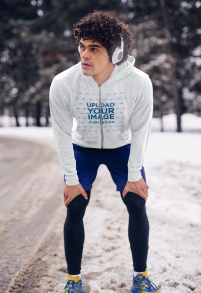 Mockup of a Fit Man Wearing a Heather Full Zip To Go for a Run 40095-r-el2