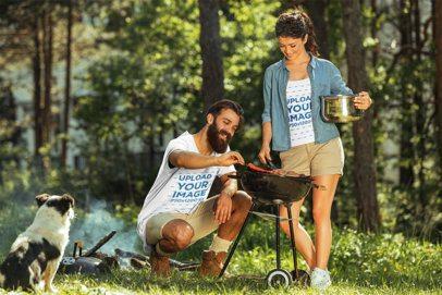 T-Shirt Mockup of a Couple Grilling Food at a Campsite 42091-r-el2