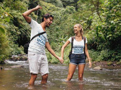 T-Shirt Mockup Featuring a Man and a Woman Crossing a River 42049-r-el2