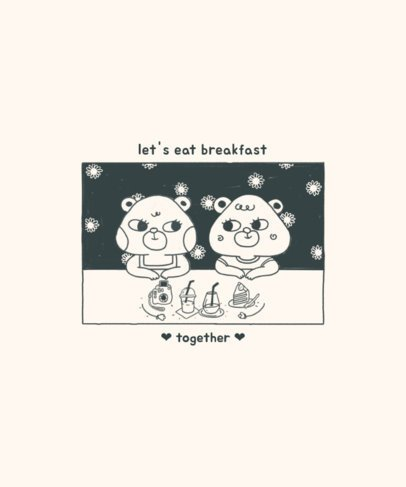 Sweet Animals T-Shirt Design Creator Featuring a Breakfast Scene 2600d