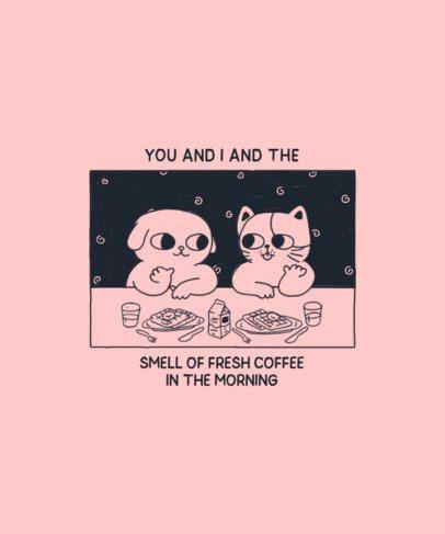 T-Shirt Design Maker Featuring Two Animals Having Fun at Breakfast 2600e