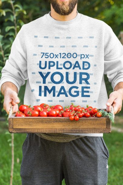 Cropped Face Mockup of a Man with a Sweatshirt Holding a Trail of a Tomatoes 40790-r-el2