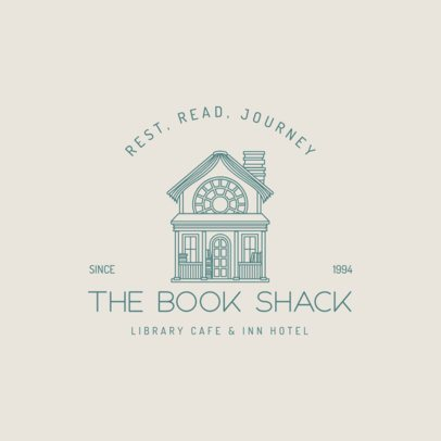 Library Logo Template Featuring a Cute Hut Graphic 3605d