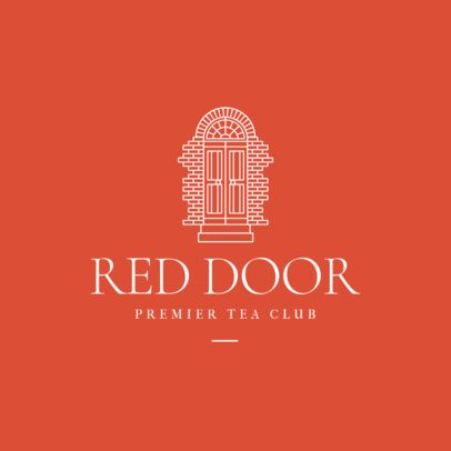 Logo Generator for a Tea Club Featuring an Old Door Illustration 3605i
