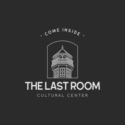 Logo Template for a Cultural Center Featuring a Wooden Tower Graphic 3605k