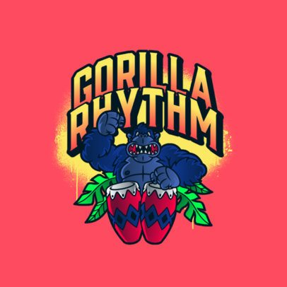 Cartoonish Logo Template Featuring a Gorilla Playing the Bongo Drums 3599f
